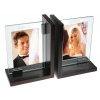"""4"""" x 6"""" Black Decor Double Wood Bookend Picture Frame"""