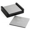 Engraved Silver Square Coasters with Black Wood Holder