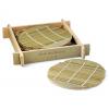 Eco-Friendly Green Bamboo Coaster Set