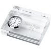 Crystal Business Card Holder with Clock