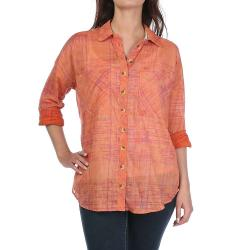 Free People Women's Shore Vibes Buttondown Top - Small - Coral