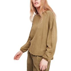 Free People Women's Be Good Terry Pullover - Medium - Moss