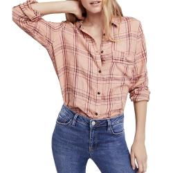 Free People Women's No Limits Plaid Buttondown Top - Medium - Peach