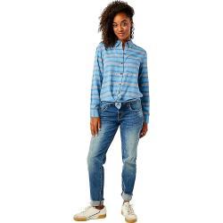 Carve Designs Women's Perry Button Down Shirt - Small - Lake Stripe
