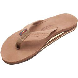 Rainbow Men's Wide Strap Double Layer Leather Sandal - Small - Dark Brown
