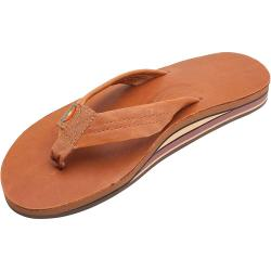 Rainbow Men's Wide Strap Double Layer Leather Sandal - Small - Classic Tan