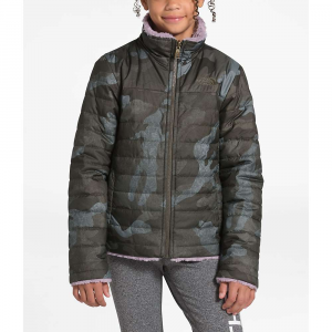 The North Face Girls' Reversible Mossbud Swirl Jacket – Medium – New Taupe Green Waxed Camo Print