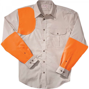 Filson Men's Lightweight Right-Handed Shooting Shirt – Medium – Desert Tan / Blaze Orange