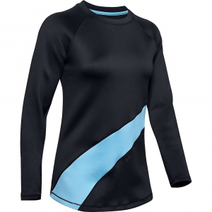 Under Armour Women's Coldgear Armour Graphic LS Top – Large – Black / Mobile Blue / Mobile Blue