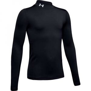 Under Armour Boys' Armour ColdGear Mock Top – Small – Black / White