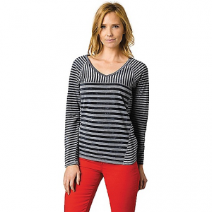 Prana Women's Jaime Top: Save 57% Off - On Sale. Free Shipping. Prana Women's Jaime Top FEATURES of the Prana Women's Jaime Top Yarn dye stripe jersey Contrast stripe patterns at sleeves and body V-neck finished in solid jersey binding Cloud wash Standard fit