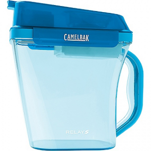 camelbak relay jug- Save 16% Off - On Sale. Camelbak Relay Jug FEATURES of the Camelbak Relay Jug Filters at the speed of your faucet Double-filter technology filters water as you fill and again as you pour Spill-proof lid stays securely in place with side-locking latches Removes chlorine, chloramine, taste and odor for great tasting water Relay fresh filters last 4 months, and eliminate 600 disposable bottles (80 gallons / 1 full pitcher per day for 4 months) Innovative pleated filter design is made of plant-based activated carbon Space-saving, 10-cup pitcher fits inside most refrigerator doors All parts except filter are top rack dishwasher safe Tested to NSF/ANSI standard 42
