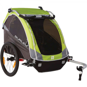 burley kids' d'lite trailer- Save 20% Off - Features of the Burley Kids' D'Lite Trailer Adjustable suspension for a smooth ride Bowed out sides for extra shoulder room Premium padded seat Adjustable ergonomic handlebar Fits pArents of any height and doubles as an additional roll bar when folded forward in biking mode Water resistant zippers provide extra water protection Compact fold flattens the trailer for easy storage and transportation Seat release buckles collapse seat down for easy conversion from carrying kids to hauling cargo Adjustable sunshade Adjustable seatback Padded reinforcement on front edge of seat Tinted side and rear windows Rear window ventilation 20in. push button wheels for quick removal Hub engaged parking brake Nose guard protects fabric when trailer is resting on ground Includes hitch, tow arm and safety flag Flex Connector allows bike to lay flat while trailer remains upright Five point harness system Full internal aluminum roll cage for protection in an accident Hammock style seat provides passive suspension for rider comfort Heat treated aluminum frame tubes and hinges Included forged aluminum hitch Wheel guards for protection from unforeseen obstacles Side battens create structured barrier between wheels and passenger Water resistant 600D polyester cover and seat fabric Front to rear fold provides increased strength and stability Reflective materials and reflectors for visibility UV protection windows Are rated UPF 30 and block 96-97.4% of UV light Recessed helmet pocket for extra head room Spacious rear cargo Area