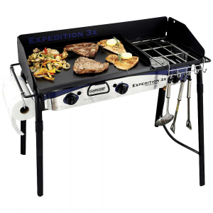 camp chef expedition 3x 3 burner stove- Save 20% Off - Features of the Camp Chef Expedition 3X 3 Burner Stove 16in. x 38 in. cooking Area (608 squAre inches) 3 aluminum burners 90,000 BTU/hr total Matchless ignition Includes True Seasoned steel 16in. x 24in. griddle Includes paper towel holder Includes utensil holder Windscreen included 31in. cooking height
