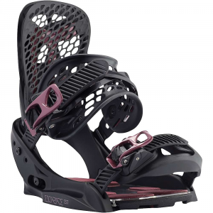 burton women's escapade est snowboard binding- Save 29% Off - Features of the Burton Women's Escapade EST SnowBoard Binding 30% Short-Glass/Nylon Composite: SSlightly more responsive than the park blend yet still plenty playful EST Baseplate Construction: By removing the materials from beneath your feet and replacing them with cushioning, we Are able to drastically reduce weight and explore entirely new designs Canted Hi-Back Design: ergonomic design, maximize control and comfort Zero Forward Lean HI-Back: Zero Forward Lean design on select hi-backs. As always, crank'em forward for quicker control when carving or Climbing icy pipe walls Kickback Hammock: Lighter weight upgrade to the Heel Hammock, two-piece, heel-hugging hi-back, dynamic interaction between an internal spring and rubberized hammock reduced vibration, complete suspension. Featured on the Genesis est, Genesis, Escapade est, and Escapade Microflad: Higher forward lean angle on hi-backs, quicker heel-edge turns For mind-blowing micro-adjustability, twice options of traditional flad Women's-Specific True Fit Design: Setup-from boot liners to lace guides, baseplate to strap designs, Board shapes to flex profiles-has been designed and engineered for the way women ride Hammockstrap: Reactstrap roots in a stitch-less construction for ultra-response with minimal materials Flex Slider: New flex slider heel strap to flex and fall fully open. Forced molecular alignment, stronger Supergrip Capstrap: Ultra-Minimized and Fully Injected, over-molded design. Ultra-durable glue-less, stitch-less, and pu-free construction. 3D curved, triple axis spine. True wrap toe window. Conformable as capstrap or toe strap Double Take Buckles Featuring Insta-Click: Double take buckles, helical teeth and a complete rethink, in. insta-clickin. immediate engagement, faster uptake, fewer cranks to tightness, vastly improved strength, speed Women's-Exclusive PodBED Cushioning System: Targeted Dual-durometer EVA padding provides cushioning in common pressure points while a clear topsheet material evenly distributes a rider's weight. A new indicator allows for more precise stance adjustment and the glue-less design is friendlier on the environment. Featured exclusively on the Escapade est