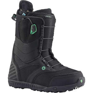 burton women's ritual snowboard boot- Save 29% Off - Features of the Burton Women's Ritual SnowBoard Boot Speed Zone Lacing System: Lacing now Features streamlined, re-profiled lace guides and jam cleats on all models (excluding the Moto and Mint( for increased Performance and greater durability. The system retains lightning fast lacing control by allowing you to customize the Fit of the Upper and lower zone in seconds. Wrap and response with less lacing effort. New england rope laces Articulating Cuff: Allowing the Upper and lower zones of the boot to flex independently creates fluid forward motion, minimizes shell distortion, and maximizes heel hold and response Griplite Backstay: Snugging up the Fit between boot and hi-back, new rubber print backstays also shave weight and enhance material-to-material grip. Printed rubber application is more direct transfer from boot to binding to Board for reduced rider fatigue Soft Flex Powerup Tongue: Greater rebound and durability, Dual Density tongue construction. 3D molded tongues, flex options based on the boot. Thermoplastic-reinforced powerup tongue on the Driver X Women's-Specific True Fit Design: Harmonious connection with Burton's True Fit women's Boards, boots, and bindings. Baseplate to strap designs, Board shapes to flex New Dynobite EST Outsole: Rebounce which wraps the cushioning in heat-reflective foil to keep it cushy and effective in cold weather, the dynobite Outsole Features an extra layer of traction at the forefoot and heel for greater grip. Dynobite provides lightweight, durable cushioning formulated specifically for SnowBoarding. 10-15% Recycled rubber content depending on model treads lighter on the planet Rebounce Cushioning: Comfort and more warmth, new rebounce cushioning. Two layer 3d laminate of cushy pu plus reflective material, heat inward. slx, ion, new ion leather, hail restricted, and supreme Sleeping Bag Reflective Foil: Lightweight underfoot Technology reflects heat back to the feet, improvi