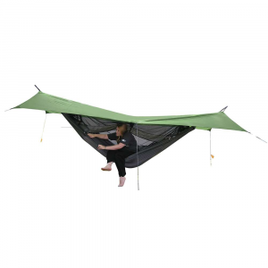 exped scout hammock combi- Save 20% Off - Features of the Exped Scout Hammock Combi Mat sleeve in double floor Full bug protection Easy zipper access Versatile set-up options Hammock has a two fabric layer base that doubles as sleeping mat sleeve (view Exped-Mats) that holds the mat in place Dark color of the mesh also improves vision from inside out and makes it harder for outsiders to look Generous volume increases comfort on warm nights Easy Access: A full length zipper runs along one side to ease entry and exit Quick Setup: The included suspension cords allow quick setup and tear down Large tarp with stowaway pockets for the guylines and easy adjust buckles for smooth tensioning of the tarp Two internal pockets hold small person Items Mosquito net not be necessary, just flip over the hammock with the net facing down Hammock Weight: 30.9 oz Tarp Weight: 23.8 oz Rope Weight: 5.3 oz Packsack Weight: 1.4 oz