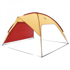 big agnes three forks shelter- Save 25% Off - The Big Agnes Three Forks Shelter is a sun shade for shielding the picnic table at the campground, summer beach parties, and backyard barbecues with the family. Don't let those ideas hinder its Uses, the freestanding shade prevents a whole lot of sun. Included is a single wall panel, allowing you to shield one wall from an onslaught of wind or even just the west side as the sun begins to set. Slide the poles through the sleeves, stake it down and get ready to party. Features of the Big Agnes Three Forks Shelter Two large entry points Two open sided walls Single wall panel included Wall panel may be attached to either side wall to block prevailing wind or sun or may be removed to create four open sides Webbing connection frame creates additional structural stability Reflective guylines and webbing on corners Sunshade or group shelter Body is polyester rip-stop All seams taped with waterproof, solvent-free polyurethane tape (No PVC or VOC's) Lightweight aluminum pole system with press Fit connectors Plastic clips and sleeve attach tent body to pole frame 8 aluminum hook stakes Additional wall panel sold separately Free standing sunshade or group shelter Pole sleeves Are simple to use One wall panel included