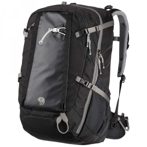 mountain hardwear splitter 40 pack- Save 18% Off - The Mountain Hardwear Splitter 40 Backpack is a Climbing backpack for getting a few essentials out to the crag or over to the gym. The 840D HT ballistic nylon body with 400D HD nylon bottom is super durable and hardy so you don't have to worry about it getting beat up at the bottom of the wall. Opens up wide like a clamshell for easy packing and unpacking, with internal mesh organization pockets, getting you right to the Items you need first. Carry your harness, shoes, chalk bag and more, just lay your gear out on the pull out tarp for a clean space for sorting gear. Side pockets hold water bottles to quench your thirst after a long day of Climbing and padded straps and backpanel make it easy to get out to the rock and back to your car in comfort. Features of the Mountain Hardwear Splitter 40 Pack HardWave suspension conforms comfortably to the curve of your back and distributes weight evenly but is removable for carrying light loads Stowable rope strap deploys when needed, hides away when not Large clamshell opening for access to all gear Padded waist belt, with gear loops, adds stability when needed Internal compression panel holds heavy Climbing gear close to your back where it carries best Two internal zippered pockets (one fabric, one mesh) to hold and organize harness, shoes and chalk bag Large top access front pocket with interior fleece lined sleeve for guide book, iPad/Tablet or other valuables and additional zippered security pocket and key clip Easy access vertical zippered pocket on front panel Reinforced grab handle ensures safe hauling when needed Dual Density shoulder straps carry in comfort Side compression straps keep any size load stable Two deep side pockets for water bottles or other gear Carry loop for ice axes or trekking poles Pull out tarp keeps Climbing gear out of the dirt while sorting Removable High strength aluminum stay for load support