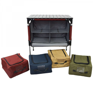 camp chef sherpa table and camp kitchen organizer- Save 20% Off - Features of the Camp Chef Sherpa Table and Camp Kitchen Organizer Versatile aluminum roll-top table 4 zippered compartments Blue organizer is lined for use as a cooler or sink Can accommodate a Mtn Series stove and 2 compartments Padded carry handles for easy handling Zippered pocket for storage of table top Telescoping aluminum legs 600 denier fabric Table height with legs extended - 28in. Table Top Dimension: 27in. x 17in. Bag Dimension: 12in. x 11in. x 6.5in.