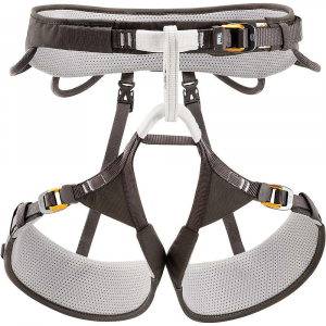 petzl aquila climbing harness- Save 25% Off - The Petzl Aquila Climbing Harness is an adjustable Climbing harness for Technical climbs and mountaineering adventures. Built with FUSEFRAME Technology, the thin harness is compact, lightweight and has a wider waist belt and leg loops for comfort during longer hang times. Distributing weight more evenly for a long day in the harness, the forged doubleback HD buckles provide smooth adjustments depending on your clothing layers. Gear loops include two flexible ones at the back and two rigid at the front as well as two CARITOOL tool holder slots for additional versatility. Talk about your personalized racking space. Features of the Petzl Aquila Climbing Harness Optimized weight and comfort Clean design of the Fuseframe Technology construction offers excellent weight distribution and minimizes pressure points Thermo-formed foam allows incorporation of strength elements into the layer of foam and thus avoids having pressure points on the yokes Compact, lightweight waistbelt in thin foam No compression points or friction zones on the waistbelt because there Are no crossing seams Fabric fused with the foam for better weight-bearing over the entire harness Very flexible leg loop attachment bridges for more comfortable walking and Climbing Adjustable leg loops remain adjusted without impeding movement Easy adjustment Double Back HD buckles in forged aluminum have a Slim, rounded design that offers good grip and fluid glide of the webbing for easy and quick adjustment and tightening of the waistbelt and leg loops Retainers for webbing Complete equipment Reinforced tie-in points in High-tenacity polyethylene for improved resistance to wear from rope friction Four Equipment Loops: Two High-capacity rigid ones in front for quick and easy access to equipment and two flexible ones in the rear to avoid creating pressure points with a backpack Two integrated Caritool tool holder slots Rear loop for haul rope Two rear elastics on detachab