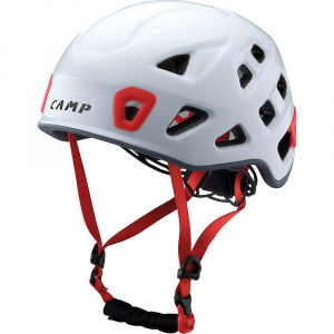 camp usa storm helmet- Save 25% Off - Features of the Camp USA Storm Helmet Lightest helmet designed for Technical Climbing and mountaineering In-mold EPS construction with a durable polycarbonate shell Open air design with 22 vent holes for remarkable breathability Precise Fit with removable padding for exceptional comfort and safety New lightweight and secure dial adjustment system sits low on the head to keep the helmet in position Locking buckles on both sides of the chin strap for an easy and secure adjustment Headlamp compatible