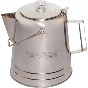 camp chef coffee pot- Save 20% Off - Features of the Camp Chef Coffee Pot Makes 28 cups (5 oz servings) 304 Stainless steel construction Two-piece percolator system included Shatter-resistant percolator view Convenient hinged lid Large handle and wire bail Easy-pour spout