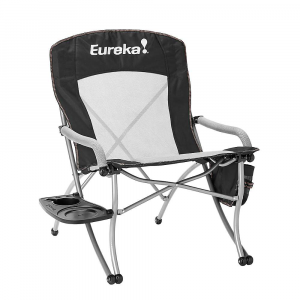 eureka curvy chair with side table- Save 21% Off - Features of the Eureka Curvy Chair with Side Table Provides 100 squAre inches of organizational storage (cup holder, recessed plate Area and utensil holders) Side table easily detatches for simple storage and transport 18in. seat height Comfort enhancing Features include 3D spacer mesh in seat and lumbar panel, and foam padded seat and arm rests Carry bag included
