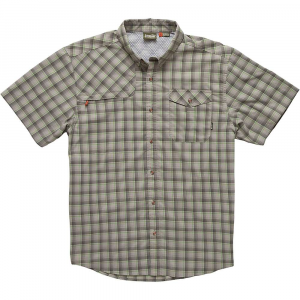 howler bros men's matagorda shortsleeve shirt- Save 25% Off - Features of the Howler Brothers Men's Matagorda Shortsleeve Shirt Quick drying nylon-poly blend Hidden zipper pocket under front right yoke Button down collar Sunglass-cleaning microfiber at hem UPF 15 sun protection Vented back yoke