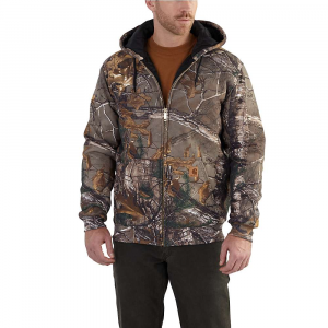 carhartt men's rain defender avondale midweight camo 3-season sweatshi- Save 30% Off - Features of the Carhartt Men's Rain Defender Avondale Midweight Camo 3-Season Sweatshirt Rain Defender durable water repellent Quilted lining retains warmth Attached quilt lined three-piece hood with draw-cord closure Full-length brass front zipper Two front handwarmer pockets Interior cell phone pocket Stretchable, spandex-reinforced rib-knit cuffs and waistband