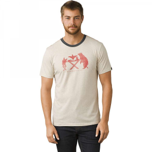 prana men's farm to table ringer tee- Save 25% Off - Features of the Prana Men's Farm To Table Ringer Tee Lightweight organic cotton blend jersey Single color chest print of a bear, pig, and chicken sitting at a dinner table with the phrase in. BRING THE FARM TO THE TABLEin. below it