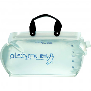 platypus water tank- Save 25% Off - The Water Tank by Platypus is now vastly improved with a more durable and flexible film, new carry handle, and easier-to-close Big Zip opening. It also packs small and carries plenty, making it ideal for backpacking or base camping. Features of the Platypus Water Tank Easy Fill and Clean: Big, WideMouth opening Versatile: Can be used with GravityWorks system or even turned into a hydration reservoir Space Saver: Collapsible, lightweight design for efficient packing