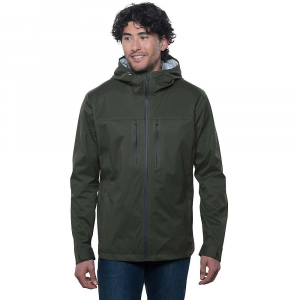 kuhl men's airstorm rain jacket- Save 30% Off - The Kuhl Men's Airstorm Rain Jacket is a waterproof/breathable jacket for hiking through the rain. Gray skies and rain falling won't let you down, just zip up the YKK water resistant front zipper and move along the trails. The mechanical stretch nylon fabric has been seam taped to prevent leaks and that little bit of stretch allows for natural movement, such as in the shoulders or elbows. Also great for impromptu High fives during said rain storm. Spacer mesh inserts create air flow so you don't overheat and the adjustable hood won't fall off in the wind. Features of the Kuhl Men's Airstorm Rain Jacket Mechanical stretch Nylon waterproof/ breathable (20k/16k) 2.5L hydrophilic PU laminate, 15 microns thick 3-D back print helps keep the fabric off your skin Spacer mesh inserts at draft flap, inside yoke and inside top hood to create airflow 2Kuhl zipper system to allow airflow at center front draft flap but also can zip closed YKK water resistant zippers Fully seam sealed with matching tape for clean interior Bottom hem cord adjustments at inside hand pockets Kuhl signature hood with front and back adjustments Velcro cuff closures 5-panel sleeve design for an ergonomic Fit Custom reflective ribbon at draft flap and inside pockets