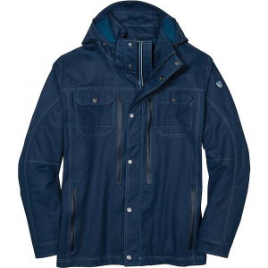 kuhl men's konfluence rain jacket- Save 25% Off - Features of the Kuhl Men's Konfluence Rain Jacket 2L waterproof/ breathable fabric (10k/10k) Fully seam sealed Garment washed Body lined with a polyester dobby weave fabric Removable hood with front and back adjustments YKK metaluxe center front zipper with draft flap Zippered inside pocket Bottom hem cord adjustment Waterproof hand pocket and large chest pocket zippers Urban-style flap pockets at chest Adjustable snap closure cuffs Double-dyed, pigment wax fabric adds an authentic look to a functional, year round rain jacket