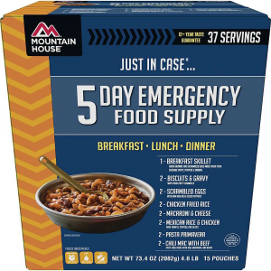 mountain house just in case 5 day emergency food supply- Save 20% Off - Features of the Mountain House Just In Case 5 Day Emergency Food Supply Biscuits & gravy x 2 Breakfast skillet x 1 Eggs with ham & peppers x 2 Chili mac with beef x 2 Chicken fried rice x 2 Mac & cheese x 2 Mexican rice & chicken x 2 Pasta primavera x 2