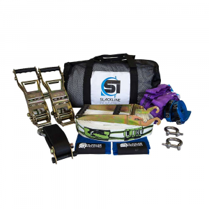 slackline industries boss line slackline kit- Save 25% Off - Features of the Slackline Industries Boss Line Slackline Kit Dual Alpha Ratchets Are independent of the anchoring system maximizing the tension and power of the line Two round slings and stainless steel shackles safely anchor the line and connect to the tension system The kit includes two High-quality, long-lever ratchets that feature a safety lock, handle grips and attachment webbing with a loop to firmly anchor each ratchet to its shackle and achieve maximum tension Custom-designed trampoline-style webbing is made for slacklining and provides extra bounce for dynamic tricks Two round slings, 6ft and 9ft with a 7:1 safety factor, Are included to created a perfect anchor for High-tension tricklining Two easy-to-use backup lines Are included as an added safety measure. This is an important precaution for tricklining which amplifies force on the line Two stainless steel shackles Are used as a connection point between your round slings and ratchets One extended handle for added leverage to get the line tight One slow release to slowly and safely release tension from the slackline when taking the slackline down Use of tree protection is Highly encouraged