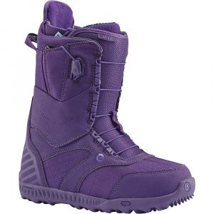 burton women's ritual snowboard boot- Save 29% Off - Features of the Burton Women's Ritual SnowBoard Boot Speed Zone Lacing System: Lacing now Features streamlined, re-profiled lace guides and jam cleats on all models (excluding the Moto and Mint( for increased Performance and greater durability. The system retains lightning fast lacing control by allowing you to customize the Fit of the Upper and lower zone in seconds. Wrap and response with less lacing effort. New england rope laces Articulating Cuff: Allowing the Upper and lower zones of the boot to flex independently creates fluid forward motion, minimizes shell distortion, and maximizes heel hold and response Griplite Backstay: Snugging up the Fit between boot and hi-back, new rubber print backstays also shave weight and enhance material-to-material grip. Printed rubber application is more direct transfer from boot to binding to Board for reduced rider fatigue Soft Flex Powerup Tongue: Greater rebound and durability, Dual Density tongue construction. 3D molded tongues, flex options based on the boot. Thermoplastic-reinforced powerup tongue on the Driver X Women's-Specific True Fit Design: Harmonious connection with Burton's True Fit women's Boards, boots, and bindings. Baseplate to strap designs, Board shapes to flex New Dynobite EST Outsole: Rebounce which wraps the cushioning in heat-reflective foil to keep it cushy and effective in cold weather, the dynobite Outsole Features an extra layer of traction at the forefoot and heel for greater grip. Dynobite provides lightweight, durable cushioning formulated specifically for SnowBoarding. 10-15% Recycled rubber content depending on model treads lighter on the planet Rebounce Cushioning: Comfort and more warmth, new rebounce cushioning. Two layer 3d laminate of cushy pu plus reflective material, heat inward. slx, ion, new ion leather, hail restricted, and supreme Sleeping Bag Reflective Foil: Lightweight underfoot Technology reflects heat back to the feet, improving both warmth and comfort when faced with cold conditions. Exclusive to the felix and new ritual Total Comfort Construction: Total comfort's industry-exclusive construction eliminates the break-in period for a Fit that feels just as good from day 1 to 100 Snow-Proof Internal Gusset: Boot tongues feature an internal gusset construction to completely seal the lower zone of the boot, keeping feet warm and dry Level 2 Molded EVA Footbed: Lightweight and long-lasting shock absorption ESS Support Shank: The added support reduces fatigue while preventing your arch from collapsing on itself when you bomb drop a 40-footer Imprint 3 Liner: Focus cuff heel hold system with velcro j-bar interface and inner lace lock, tuff cuff with velcro j-bar interface and inner lace lock (driver x and felix only), plush cuff 1.0, lightweight power panels, sock lock, rad pad for lace comfort, velcro liner closure, level 2 molded EVA Footbed with ESS support shank and aegis antimicrobial coating, heat-moldable Dryride Heat Cycle Lining: Warmth and wicking Are two key traits for on-Snow comfort. Burton's new breathable inner-lining Technology utilizes interwoven thermally activated carbon thread to capture, radiate, and reflect body heat inward to keep feet warmer while also wicking heat-robbing moisture outward for all day comfort Focus Cuff: Boosting heel-hold by hugging that sweet spot around your ankle, the Focus Cuff rides slightly Higher on your ankle for increased response Plush Cuff 1.0: The plush Cuff 1.0 hugs your calf like no other thanks to a combination of medial and lateral neoprene stretch zones and a super soft faux fur lining. featured on the felix, ritual, memento, emerald, bootique,
