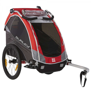 burley kids' solo trailer- Save 20% Off - Features of the Burley Kids' Solo Trailer Adjustable suspension for a smooth ride Bowed out sides for extra shoulder room Premium padded seat Adjustable ergonomic handlebar Fits pArents of any height and doubles as an additional roll bar when folded forward in biking mode Water resistant zippers provide extra water protection Compact fold flattens the trailer for easy storage and transportation Seat release buckles collapse seat down for easy conversion from carrying kids to hauling cargo Adjustable sunshade Adjustable seatback Padded reinforcement on front edge of seat Tinted side and rear windows Rear window ventilation 20in. push button wheels for quick removal Hub engaged parking brake Nose guard protects fabric when trailer is resting on ground Includes hitch, tow arm and safety flag Flex Connector allows bike to lay flat while trailer remains upright Five point harness system Full internal aluminum roll cage for protection in an accident Hammock style seat provides passive suspension for rider comfort Heat treated aluminum frame tubes and hinges Included forged aluminum hitch Wheel guards for protection from unforeseen obstacles Side battens create structured barrier between wheels and passenger Water resistant 600D polyester cover and seat fabric Front to rear fold provides increased strength and stability Reflective materials and reflectors for visibility UV protection windows Are rated UPF 30 and block 96-97.4% of UV light Recessed helmet pocket for extra head room Spacious rear cargo Area