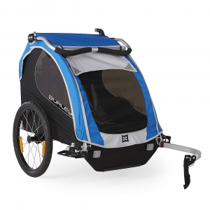 burley kids' encore trailer- Save 20% Off - The Burley Kids' Encore Trailer is a bike trailer for toting your kids around. Seating for one kid or two, plus the're removable in case you've gotta do some cleaning. Crackers get everywhere. The harness keeps the kiddo(s) safe and seated during bike rides. Tinted windows so they can see out but still get protection from the sun. Optional kits available to turn this fun ride into a stroller. Features of the Burley Kids' Encore Trailer Adjustable handlebar Fits pArents of any height and doubles as an additional roll bar when folded forward in biking mode Compact fold flattens the trailer for easy storage and transportation Seat release buckles collapse seat down for easy conversion from carrying kids to hauling cargo Sunshade with two positions Padded seats and harnesses with removable pads for easy cleaning Adjustable seatback for comfort adjustments Padded reinforcement on front edge of seat Tinted side and rear windowsRear window ventilation 20in. push button wheels for quick removal Hub engaged parking brake Includes hitch, tow arm and safety flag Flex Connector allows bike to lay flat while trailer remains upright Five point harness system Full internal aluminum roll cage for protection in an accident Hammock style seat provides passive suspension for rider comfort Heat treated aluminum frame tubes and hinges Included forged aluminum hitch Wheel guards for protection from unforeseen obstacles Side battens create structured barrier between wheels and passenger Water resistant 600D polyester cover and seat fabric Front to rear fold provides increased strength and stability Reflective materials and reflectors for visibility UV protection windows Are rated UPF 30 and block 96-97.4% of UV light Recessed helmet pocket for extra head room Spacious rear cargo Area