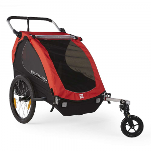 burley kids' honey bee trailer- Save 20% Off - The Burley Kids' Honey Bee Trailer is a bike trailer meets stroller. Yup, 2-in-1 combination, capable of carting around 1 or 2 kids. Attach to your bike for a pedal around the neighborhood, visiting the local park along the route. The mesh windows allow your little ones to see out, or roll down the shield to protect against wind or rain. When you feel like walking instead, attach the single wheel at the front and push away. Features of the Burley Kids' Honey Bee Trailer Includes one Wheel Stroller Kit for quick conversion from biking to strolling Adjustable ergonomic handlebar Fits pArents of any height and doubles as an additional roll bar when folded forward in biking mode Compact fold flattens the trailer for easy storage and transportation Tinted side and rear windows Rear window ventilation 20in. push button wheels for quick removal Hub engaged parking brake Includes hitch, tow arm and safety flag Flex Connector allows bike to lay flat while trailer remains upright Five point harness system Full internal aluminum roll cage for protection in an accident Hammock style seat provides passive suspension for rider comfort Heat treated aluminum frame tubes and hinges Included forged aluminum hitch Wheel guards for protection from unforeseen obstacles Side battens create structured barrier between wheels and passenger Water resistant 600D polyester cover and seat fabric Front to rear fold provides increased strength and stability Reflective materials and reflectors for visibility UV protection windows Are rated UPF 30 and block 96-97.4% of UV light Recessed helmet pocket for extra head room Spacious rear cargo Area