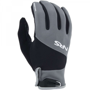 nrs men's hydroskin gloves- Save 19% Off - Features of the NRS Men's HydroSkin Gloves Great for those in-between-weather paddles, or for when the air's warm but the water's cold (or vice versa) The 0.5 mm neoprene core layer insulates and protects without adding too much bulk The PowerSpan exterior stretches in four directions, allowing unrestricted use of your most important paddling equipment - your hands The ThermalPlush inner lining increases Insulation, repels moisture and dries quickly for added comfort GripCote texture on the palm and fingers provides a better grip and added durability A durable water repellent (DWR) coating helps the gloves shed water, reducing evaporative cooling A soft strip of fleece on the back of the thumb is perfect for wiping the sweat from your brow without chafing An adjustable hook-and-loop in. bike-glovein. tab secures the glove at the wrist for easy on-and-off Fleece nose wipe panel on back of thumb