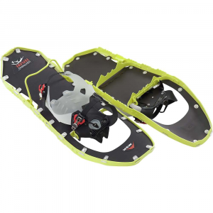 msr women's lightning explore snowshoes- Save 14% Off - The MSR Women's Lightning Explore Snowshoes Are an aggressive, ultralight shoe with comfortable bindings to get you through long days during on- and off-trail adventures. The toothy 360degrees Traction frame is Slimmed down to accommodate a narrow gait, so you can walk as normal and still get stellar traction through all conditions. The ballistic fabric decking is tough and durable while keeping weight at a minimum. Strap these puppies to your feet with the new HyperLink(TM) bindings, they Cradle your foot like a Momma does her baby (soft and gentle, without any hot spots). The ratchet system cinches the heel and forefoot straps down and the red side buttons adjust and release as necessary. Set the heel strap only once, and you won't have to release it again, unless of course you change your footwear or let someone borrow your trusty Snowshoes. One last thing before I sign off here, Ergo Televators! Flip this handy little bar up with a flick of your trekking pole grip and ease into an uphill climb. Features of the MSR Women's Lightning Explore Snowshoes Reduces calf strain on steep pitches and distributes pressure to enhance traction, Innovative design engages easily with end of pole grip For 2014, MSR update the decking with cutting edge ballistic fabric that increases the Lightning Snowshoes' durability, while maintaining the ultralight Performance that defines this premium shoe Two piece urethane construction locks tightly around boots for MSR's greatest level of security in challenging terrain, and remains flexible to - 20Adeg F Split teeth add durability and distribute force for continuous contact and better traction in rugged terrain Vertical wall of ultralight, aerospace - grade aluminum delivers unrivaled traction and stability 360Adeg, excelling on ascents and traverses Hyperlink Binding System Laterally Adjustable Axis Gait Technology 360Adeg Traction Frame plus Pivot crampons deliver advanced, edge-to-edge grip, delivering unmatched traction and security on any terrain, in any condition Ergo Televators reduce fatigue and increase traction on the steeps, with a new, ergonomic design that engages with a flick of a pole grip Modular Flotation tails (sold separately) allow you the maneuverability of a smaller, primary Snowshoe with the optional, on-demand flotation 5-inch (13-cm) tails