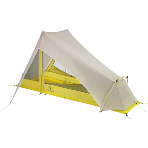 sierra designs flashlight 1 fl tent- Save 25% Off - The Sierra Designs Flashlight 1 FL Tent is a Hybrid tent for solo backpacking. The non free-standing tent is featherlight with a minimum weight of 1 lb, 15 oz when leaving the included vertical poles at home. Just don't forget to pack your trekking poles if you're going with that set up. The rain fly (20D polyester ripstop with silicone/1200mm PE coating) and tent body (15D nylon no-see-um ultralight mesh) have been combined, so you can set up faster and drier on dreary days and enjoy a cooling breeze on the hot ones. The single door provides dry and fast exits due to the awning coverage and lack of a vestibule. Don't worry, your backpack and/or shoes still have a place to stay dry underneath the gear closet, positioned off to the side of the door and out of your way. Features of the Sierra Designs Flashlight 1 FL Tent Feather light Design IndiviDual doors for each occupant Defined footprint with only 6 stake outs Large drop doors 8in. Awning coverage Hybrid double/single wall Trekking pole compatible Gear closet