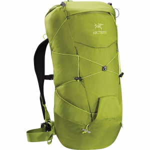 arcteryx cierzo 28 backpack- Save 20% Off - The Arcteryx Cierzo 28 Backpack is an ultralight backpack for Climbing summits and hauling a little bit of gear along the way. When you're hitting the summit within a day you don't need to carry along the whole kit and caboodle, plus you want to keep things light on your back. Toss in your helmet, some layers, snacks, water, and any other Climbing gear you may need to make it happen and get on your way. The foam back pad and sternum strap Are both removable, allowing you to customize on lighter load days. Simple, streamlined and compresses with Swiftcord(TM). Features of the Arcteryx Cierzo 28 Backpack Glove friendly main opening with a pull to open, pull to close drawcord system Adjustable top strap can be used to compress the pack or lash a Climbing rope to the exterior of the pack Hydration bladder compatible with HydroPort drink tube passage and an internal clip to keep the bladder suspended and prevent blockages Small external pocket can stash small Items; internal stash pocket with key clip holds keys, wallet, phone, headlamp, etc. SwiftCord drawstring style compression system is accessed / stored in the pack's external front pocket; Dual quick hooks allow for variable configuration of the compression cords Lightweight aluminum bars work with the SwiftCord compression system to carry ice or mountaineering tools, front flap keeps tool picks flat against the pack Padded shoulder straps, adjustable sternum strap and 37mm wide webbing waistbelt Padded back panel for better carry comfort removable if not needed Made from N210p-HT Nylon 6,6 High-Density plain weave fabric, the Cierzo is light and tough Material's light weight is one of the key ways Arcteryx designers kept the Cierzo 28's weight to a mere 545 grams (19.2 oz)