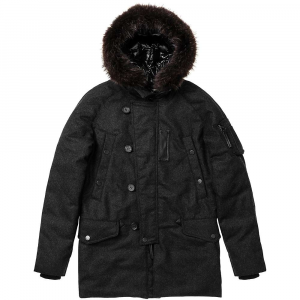 duvetica men's learco down jacket- Save 39% Off - Features of the Duvetica Men's Learco Down Jacket Smooth, long, four-pocket down parka with hood,detachable faux fur and contrasting inner lining Double-slider contrasting zip fastening concealed by flap with genuine horn buttons Upper oblique handwarmer welt pockets with snaps Lower pockets with flap and snap Sleeve bellows pocket with contrasting zip Rib knit cuffs Inner drawstring at the waist Inside zip pocket Insulated with the warmest, Highest quality French grey goose down Detailed with 100% leather