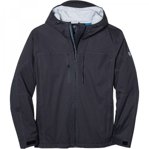 kuhl men's airstorm rain jacket- Save 25% Off - The Kuhl Men's Airstorm Rain Jacket is a waterproof/breathable jacket for hiking through the rain. Gray skies and rain falling won't let you down, just zip up the YKK water resistant front zipper and move along the trails. The mechanical stretch nylon fabric has been seam taped to prevent leaks and that little bit of stretch allows for natural movement, such as in the shoulders or elbows. Also great for impromptu High fives during said rain storm. Spacer mesh inserts create air flow so you don't overheat and the adjustable hood won't fall off in the wind. Features of the Kuhl Men's Airstorm Rain Jacket Mechanical stretch Nylon waterproof/ breathable (20k/16k) 2.5L hydrophilic PU laminate, 15 microns thick 3-D back print helps keep the fabric off your skin Spacer mesh inserts at draft flap, inside yoke and inside top hood to create airflow 2Kuhl zipper system to allow airflow at center front draft flap but also can zip closed YKK water resistant zippers Fully seam sealed with matching tape for clean interior Bottom hem cord adjustments at inside hand pockets Kuhl signature hood with front and back adjustments Velcro cuff closures 5-panel sleeve design for an ergonomic Fit Custom reflective ribbon at draft flap and inside pockets