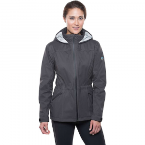 kuhl women's airstorm rain jacket- Save 25% Off - Features of the Kuhl Women's Airstorm Rain Jacket Mechanical stretch Nylon waterproof/ breathable (20k/16k) 2.5L hydrophilic PU laminate, 15 microns thick 3-D back print helps keep the fabric off your skin Spacer mesh inserts at draft flap, inside hood and inside yoke to create airflow 2Kuhl zipper system to allow airflow at draft flap but can also zip closed YKK water resistant zippers Fully seam sealed with matching tape for clean interior Kuhl signature hood with front and back adjustments Velcro cuff closures Internal waist adjustment for a custom Fit Feminine princess lines Custom reflective ribbon at draft flap and inside pockets