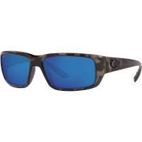 Costa Del Mar Men's Fantail Polarized Sunglasses - One Size - Ocearch Matte Tiger Shark / Blue Mirror 580G