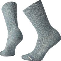 Smartwool Women's Cable Crew Sock - Large - Dark Prussian Blue / Moonbeam Marl