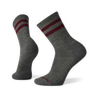 Smartwool Men's Athletic Light Elite Stripe Crew Sock - Large - Medium Grey